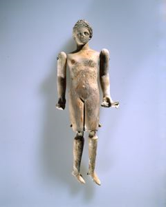 Image of Jointed Female Doll Holding Rattles (krotala) 1206